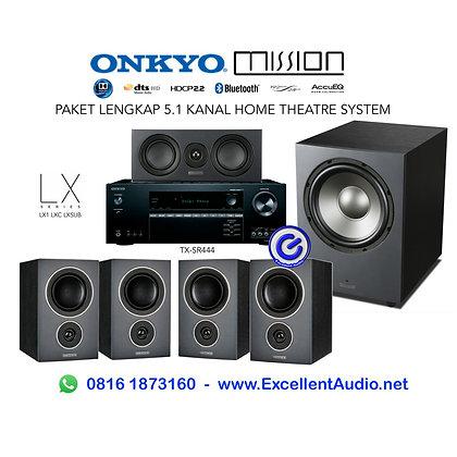 Paket Lengkap Onkyo TXSR 444 mission LX1 LXC LX10 sub home theatre system