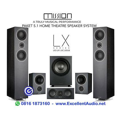 Paket home theatre speaker system Mission LX3 LX1 LXC LX10 Sub 5.1 CH