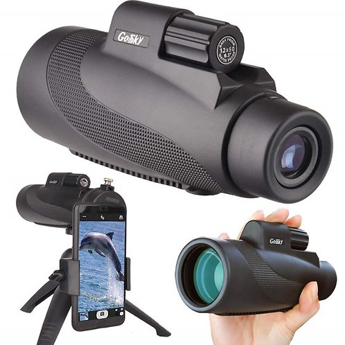 12X50 High Power Prism Monocular Scope, Smartphone Holder, & Handheld Tripod Kit