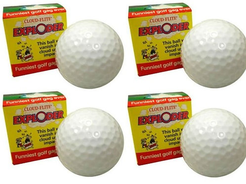 Exploding Golf Ball 4 Pack, Explodes Into A Cloud Of White Dust on Impact, Prank