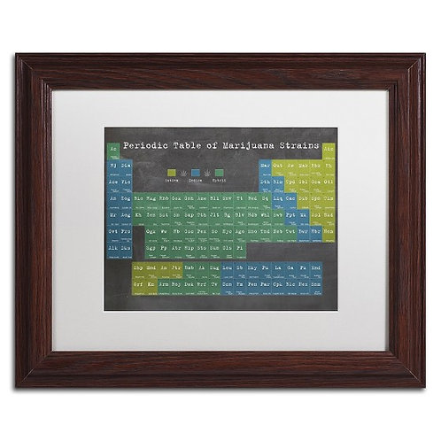"Periodic Table of Cannabis, Marijuana by Potman White Matte & Wood Frame 11""x14"""