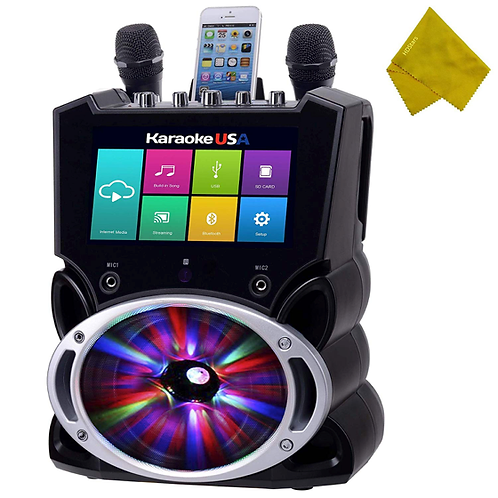 """WiFi Bluetooth Karaoke System, 9"""" Color Touch Screen, & Record Function Home LED"""