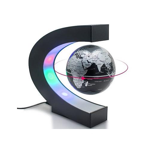 C Shaped Decoration Display Magnetic Levitation Floating Globe World Map w/ LEDs