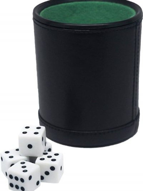 Felt Lined Dice Cup with 5 Dice, Soft Green Interior & Reinforced Bottom Quality