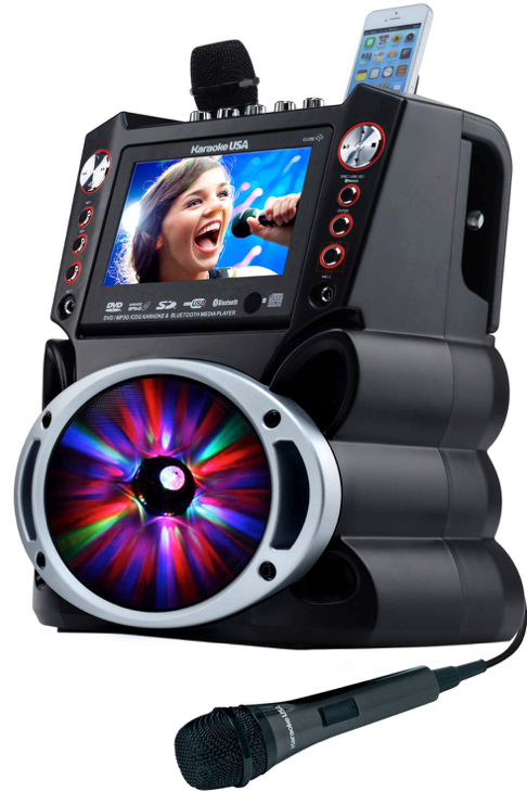 "Complete Karaoke System with 2 Microphones, Remote Control 7"" Color Display, LED"