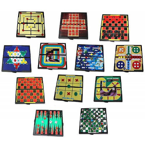 """12-n-1 Travel Magnetic Games 5"""" X 5"""" Self Contained Use Fun Anywhere Vacationing"""