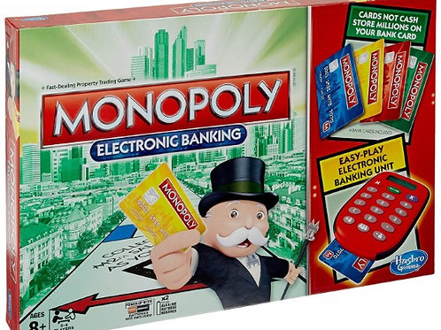 Monopoly Electronic Banking Game w/ Banking Unit & 4 Bank Cards, Classic Trading