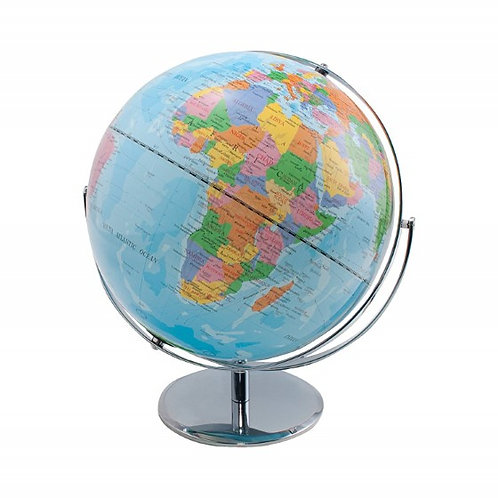 "12"" Desktop Political World Globe w/ Blue Oceans Home, Classroom Meridian & Base"