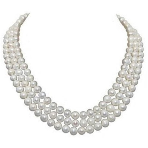"3-row White A Grade Freshwater Cultured Pearl Necklace (6.5-7.5mm) 16.5""-17""-18"""