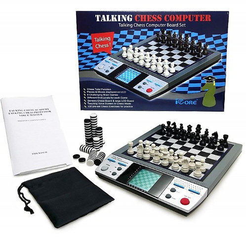 Electronic Travel Magnetic Talking Chess Checkers Board Games 8n1 Portable Tutor