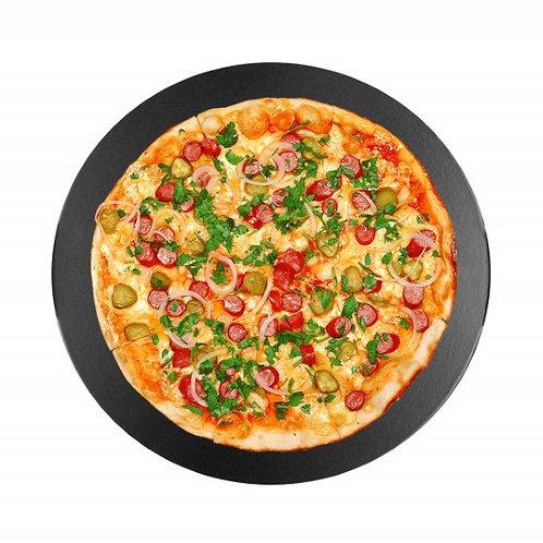 """13"""" Ceramic Blk Glazed Pizza Stone for Oven, Grill Bread Baking Stone Cordierite"""