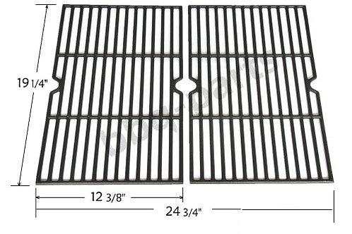 Universal Gas Grill Grates Cast Iron BBQ Parts Replacement Black Set of 2 pieces