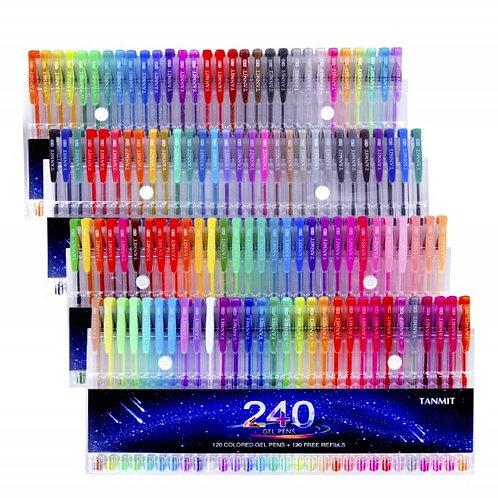 240 Gel Pens Set 120 Colored Pens + 120 Refills Adults & Kids Coloring - Drawing