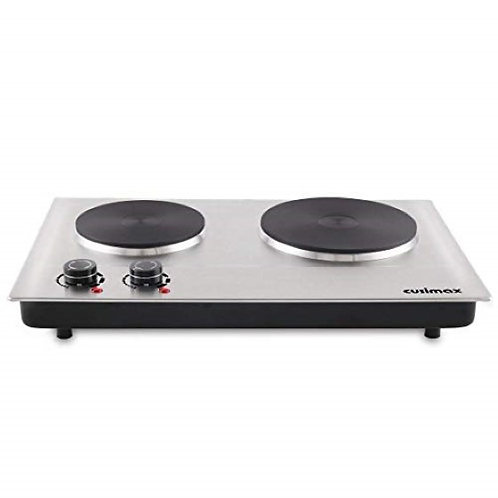 1800W - 2 Burner Hot Plate, Stainless Steel Countertop Portable Electric Cooktop