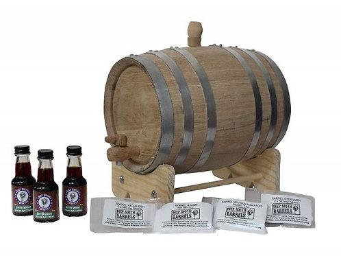 3Liter American White Oak Barrel Unfinished Steel Bands Whiskey Kit Cleaning Kit