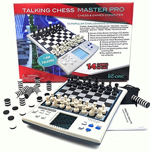 Electronic Travel Magnetic Talking Chess Checkers Board Game 14n1 Portable Teach
