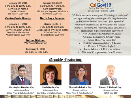 2019 Public Sector Labor & Employment Law Updates - January 30, 31, and February 6, 2019