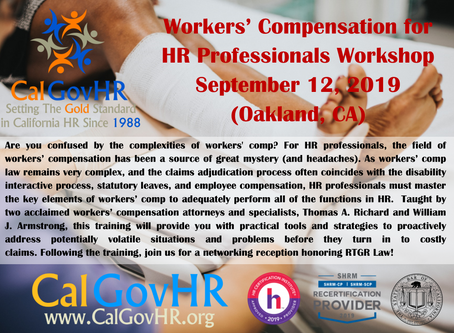 Workers' Compensation for HR Professionals Training - Sept. 12, 2019 (Oakland)