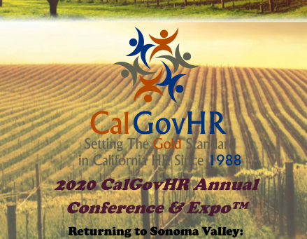 Save the Date - 2020 CalGovHR Conference & Expo - March 11 - 13, 2020 (Sonoma, CA)