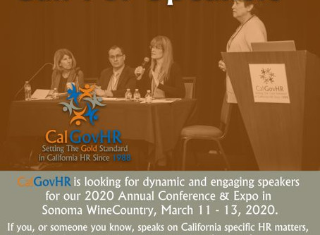 Call for Speakers for CalGovHR 2020 Conference & Expo - Now Open; Proposals Due August 30, 2019