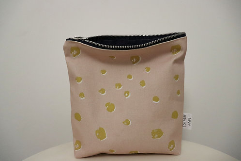 The Pink and Mustard Polka Pouch | Small