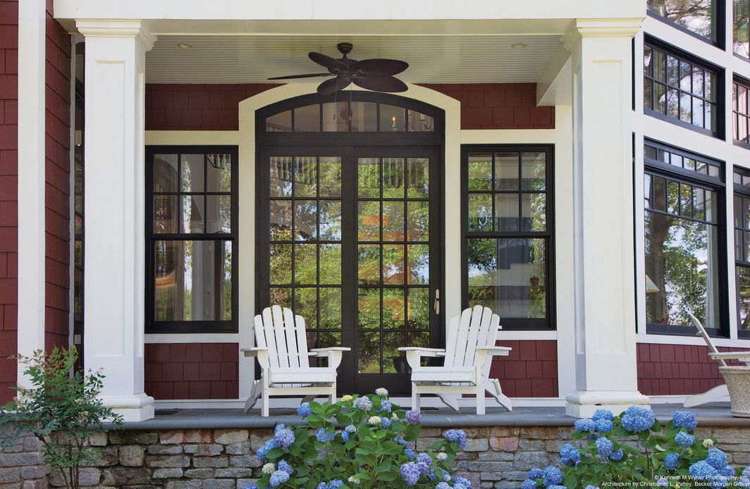 Clad wood French sliding patio door and