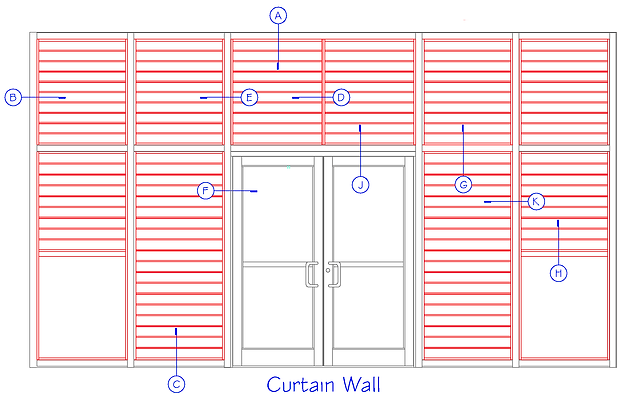 BASS curtain wall elevation