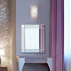 Compact bevelled square corner mirror