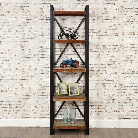 Industrial Chic Open Narrow Bookcase