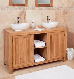 Classic Oak Round Dual Sink Unit