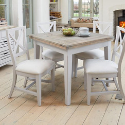 Greyland Square Extending Dining Table with 2 Pair of Chairs