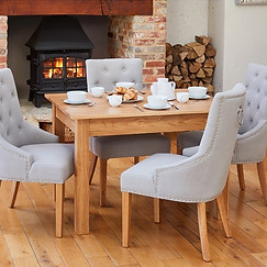 Oak Small Dining Table with 4 Grey Chairs