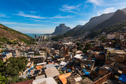 View of Rocinha, the Largest Favela in Brazil, With Over 70,000 Inhabitants, Ocean in the Horizon an