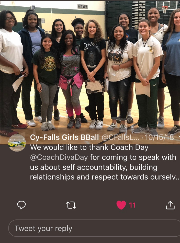 DDC Leadership and Team Building with Cy-Falls Girls Basketball Team  #buildingrelationships