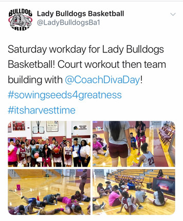 """Waller Girls Basketball Team character development session using """"A Diva's Guide to Success"""" to guide them in understanding the importance of each teammate has a piece of the puzzle for their overall success. #sowingseedsforgreatness"""