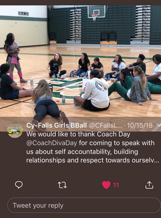 DDC Leadership and Team Building with Cy-Falls Girls Basketball Team giving tools for success!  #accountability