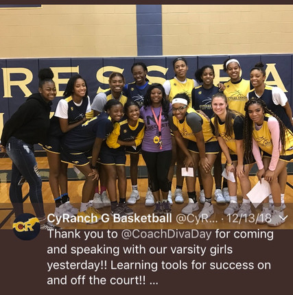 DDC Leadership and Team Building with Cy-Ranch Girls Basketball Team teaching tools for success on and off the court.  #successonandoffthecourt