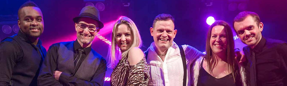 Steve Turner, Lorna Blackwood, James Robinson, Caron Robinson, Jimmi Clarke play for Playback live party band
