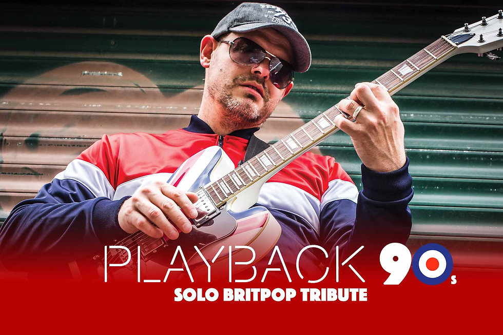 James Robinson with epiphone union jack guitar Britpop tribute Norwich Norfolk UK