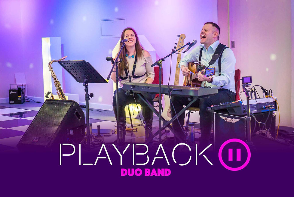 Norfolk party band duo, Playback featuring Caron on Saxophone