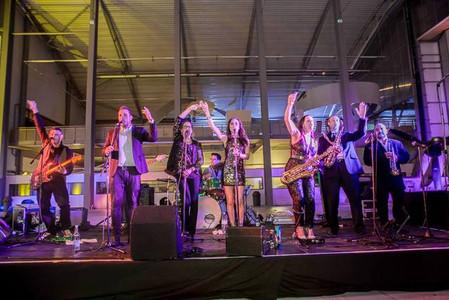 10 piece live party band at the Duxford venue, Cambrideshore