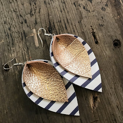 Rose Gold Leather Earrings with Blue & White Stripes