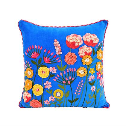 Crochet Velvet Floral Pillow 18x18