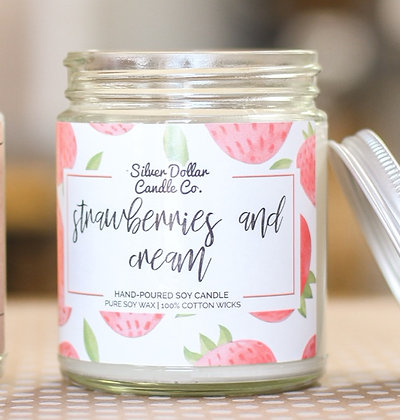 Strawberries And Cream Soy Candle - 8 oz