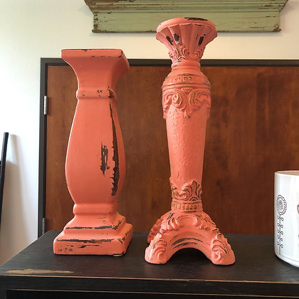 Pair of Coral Candlesticks