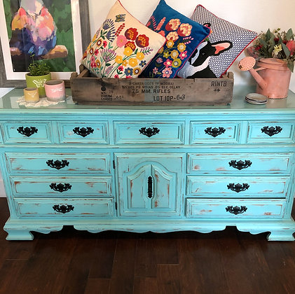 Large Turquoise Dresser with Wheels