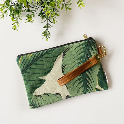 Banana Leaf Print Wristlet Clutch With Strap