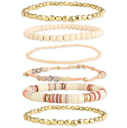Creamsicle Gold & Peach Bead Stretch Bracelet - Set of 6