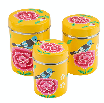 Yellow Stainless Steel Canister Set of 3