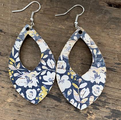 Blue Poppy Cork and Leather Teardrop Earrings